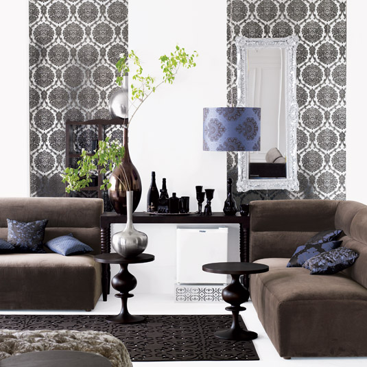 Modern flocked wallpaper interior Decoration