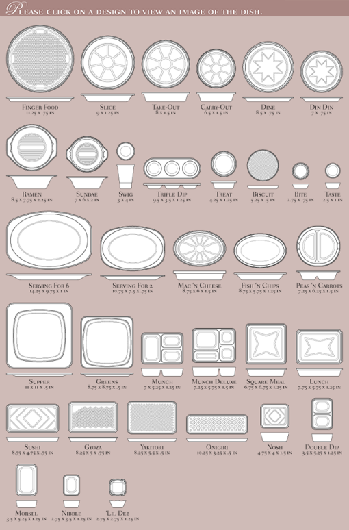 the wide assortment of dish styles