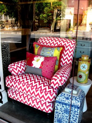 chair upholstered in a fun fabric by rubie green