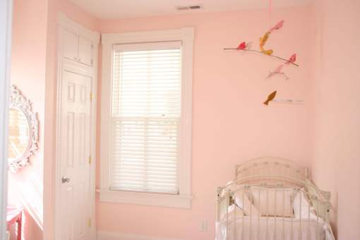 the bird mobile in the room