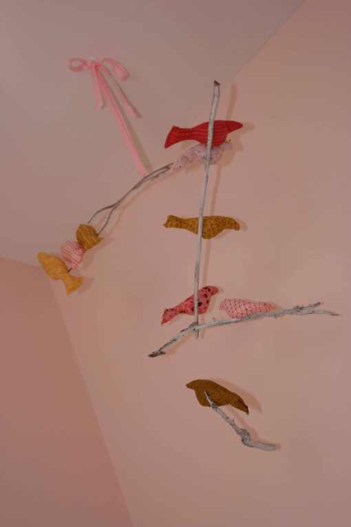 our version of spool sewing's bird mobile!