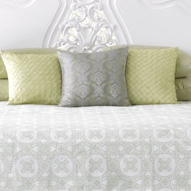 medallion print duvet in celadon (plus the two textured pillows)