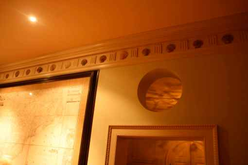 the elaborate molding and shells