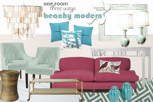 {one room three ways} beachy modern