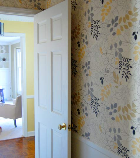 barb blair's wallpapered hallway - my future bathroom wallpaper?!