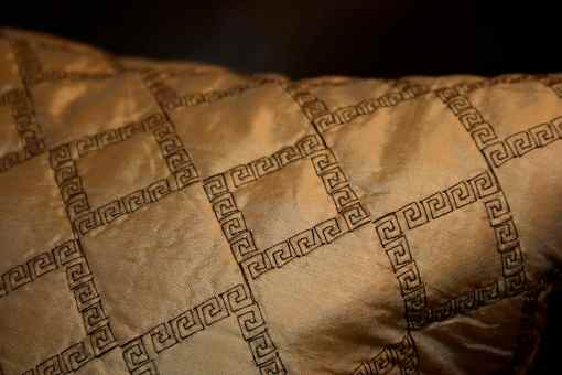 detail of greek key stitching