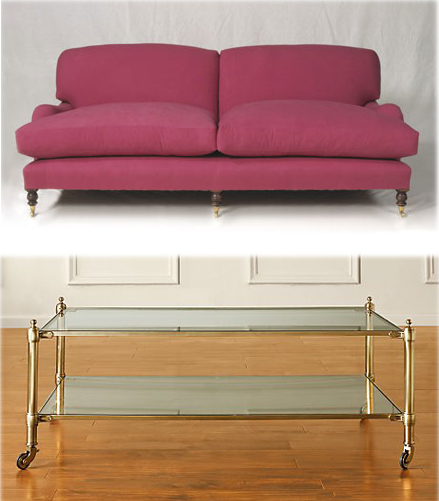 the sofa and table re-used for three different rooms
