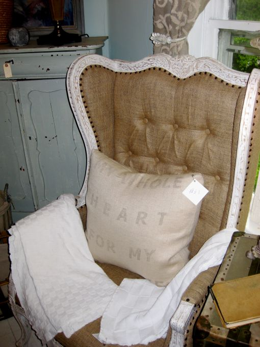 another glorious wingback in burlap