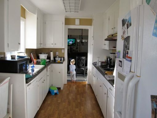 the current kitchen, looking into the newly opened up room