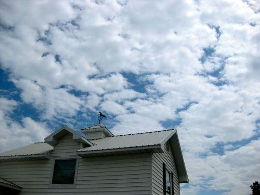 pretty sky above the garage