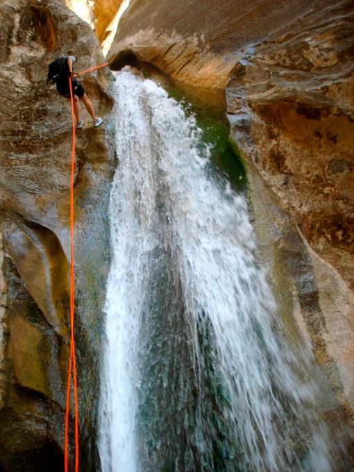 halfway through a 200 ft rappell