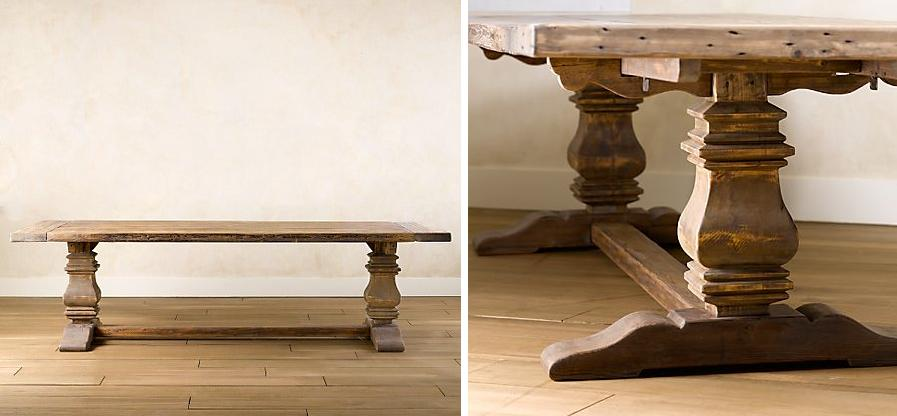 the trestle salvaged wood dining table