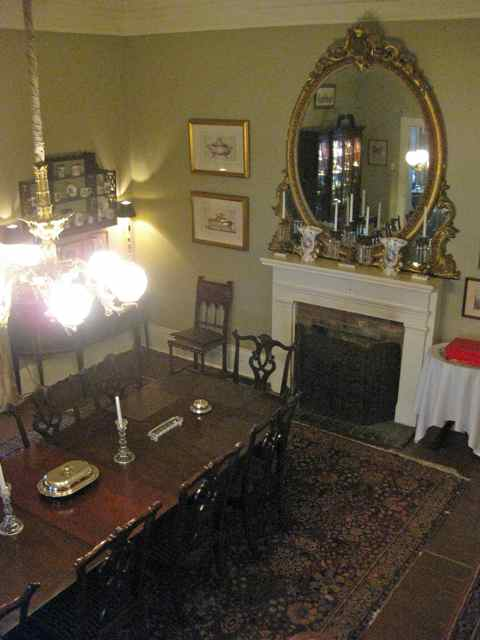 a view from the stairs into the dining room
