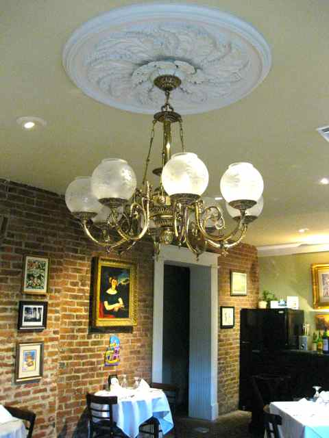 an original chandelier in the restaurant (re-wired but formerly lit using whale blubber)